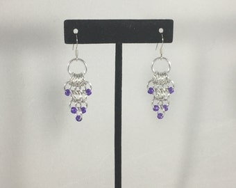 Purple Beaded Chainmaille Earrings