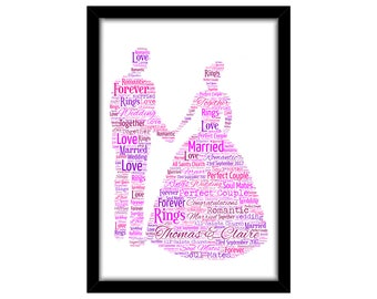 PERSONALISED Wedding Couple Word Art Print Gift Idea Birthday Present Wall Art Home Print Couples Engagement Proposal Anniversary Renew Vows