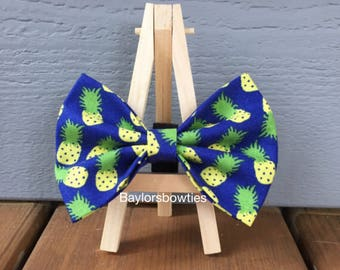 Dark Blue Pineapple Dog Bow Tie