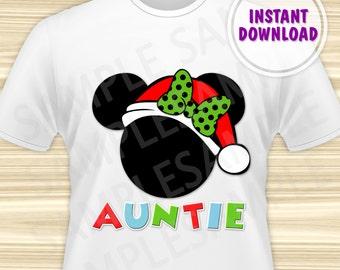 Christmas Minnie with Santa Hat Printable Iron On Transfer. Minnie Mouse Christmas Iron On Transfer. Minnie Christmas Aunt. DIGITAL FILE.