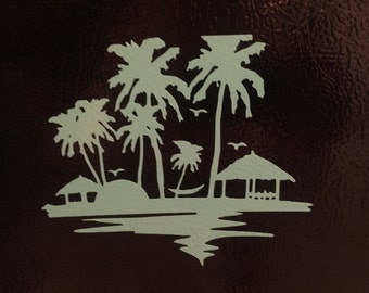 Beach decal - palm tree decal
