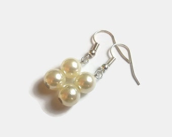 Acrylic pearls earrings - Elegant jewelry - Dangle earrings - Beaded earrings - Gift for her - Valentines present - UK seller