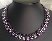 Beaded necklace Flutterby beaded necklace seed beads purple and silver beads stunning collar style beaded necklace shades of purple