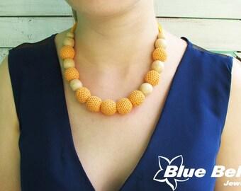 Orange bead necklace, wood orange necklace, orange bead necklace, crochet beads, orange wooden beads, orange necklace, wood bead necklace