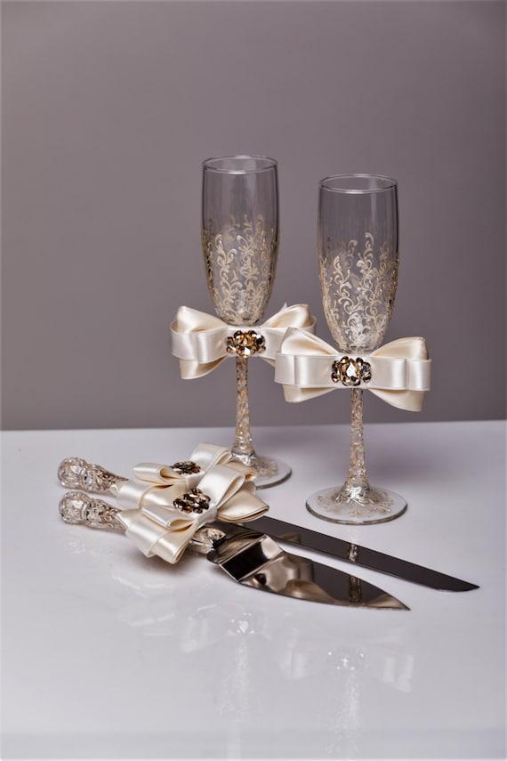 Wedding Glasses And Cake Server Set Wedding Cake Knife Ivory And Gold