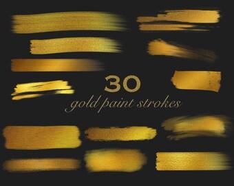 Gold paint strokes, gold brush strokes, digital paint strokes, digital brush strokes, golden paint strokes, paintbrush, instant download