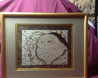 Woodburning owl