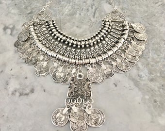 Statement necklace Tribal Necklace Gypsy necklace Turkish necklace Coin necklace Bib necklace Ethnic necklace Boho coin necklace