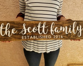Family/Established Wood Sign - Perfect wedding, housewarming, anniversary gift!