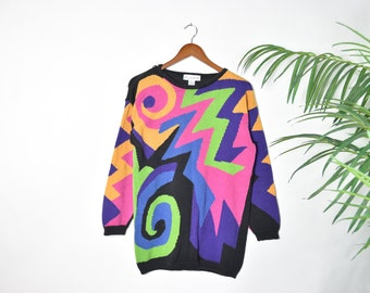 Vintage Colorful Abstract Knitted Sweater