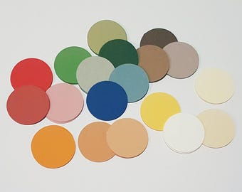 50 Large Paper Circle Discs for paper garland, scrapbooking, paper craft, collage, card making and kids craft.  4.5cm Paper punch.