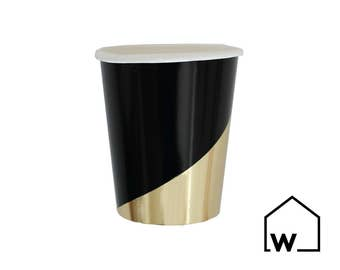 Black & Gold Hexagon Colorblock Party Cups (Set of 8) | Wedding, Bridal Shower, Engagement, Bachelorette Party, Baby Shower, Birthday