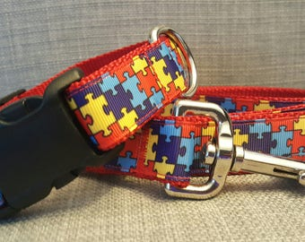 Autism Awareness Puzzle Piece Dog Collar & Leash
