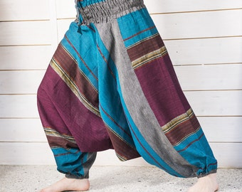 Harem pants with gold thread, cotton turquoise Bordeaux