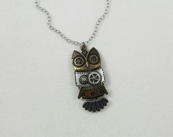Owl Necklace, Steampunk Owl, Robotic Owl, Steampunk Animals, Steampunk Bird, Steampunk Jewelry, Clearance Necklace, Discounted Necklace