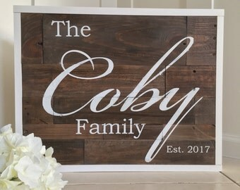 Plank Wood Family Established Pallet Wood Sign Wedding House Warming Anniversary