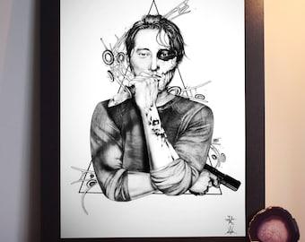 The Walking Dead Art print Glenn Rhee - A4 Art Prints