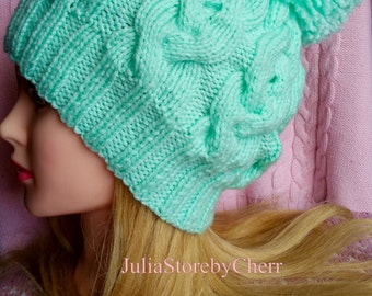 Hand knitted turquoise beanie