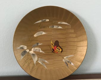 Vintage Gold Metallic Painted Butterfly Decorative Dish