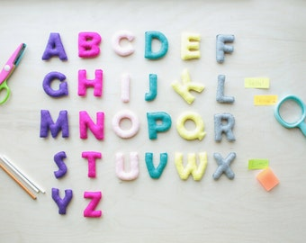 Colorful Felt Alphabet, 26 Capital Letters, Educational Game, Preschool, Handmade Alphabet, Stuffed Alphabet ABC Educational  Toy Kids  SALE