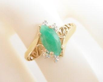 Emerald Ring, Vintage Emerald Ring, Gold Emerald Ring, 10k Yellow Gold .60 Natural Emerald Filigree Openwork Ring Sz 6 #2753