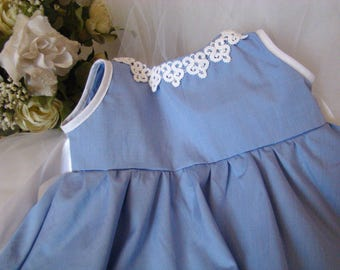 Dress evening baby, ceremony, event and other cotton blue and white lace