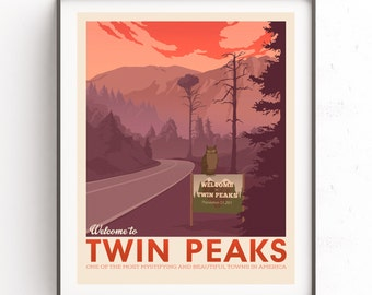 Twin Peaks poster. Fire walk with me. Retro travel poster. David Lynch art. Damn good coffee. Agent Cooper design. The owls are not what