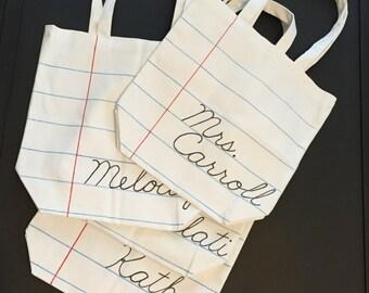 Custom Reusable Canvas Notebook Paper Tote Bag, Teacher Gift, Christmas gift for teacher, Back to School, secret santa gift, farmers market