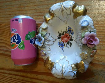 Vintage Schierholz bowl with flowers and gold