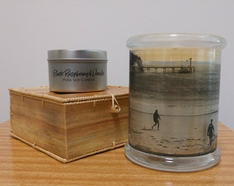 Lemongrass & Persian Lime Scented pure soy candle with photograph by Taylor Battista.