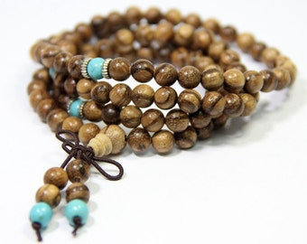 108 Mala Beads 6mm Agarwood Natural Brown Wood Mala Necklace Sandalwood Mala Beaded Wrap Bracelet Buddha Prayer Beads  Wood Turquoise Mala