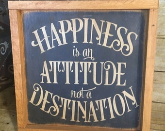 Happiness is an Attitude, gallery wall, wood sign, farmhouse Decor, framed wood sign, Framed sign, wall decor, rustic sign, primitive sign,