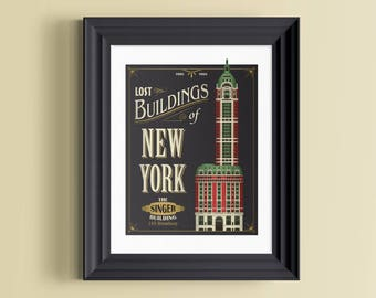 Singer Building | New York wall art | New York decor | New York poster | Manhattan print | New York skyline | New York gift | NYC print
