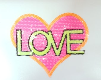 Cute Neon Sequins Love Heart Iron On Patch Free Shipping!