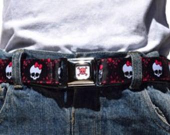 Kids Belt Press Belt Adjustable Belt in Girls Pink and White Skulls