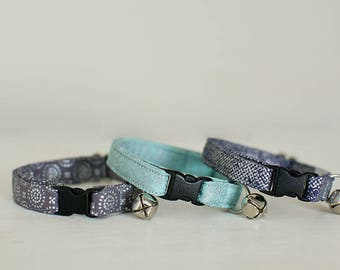 Cat Collar-Breakaway Cat Collar-Boy Cat Collar-Girl Cat Collar-Blue Cat Collar-Grey Cat Collar-Cat Collar With Bell-Cute Cat Collar