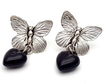 Small Butterfly Silver Tone Black Heart Drop Earrings Vintage from the 90s Grunge Rock Country Dance Gift for girl daughter Dangle Summer