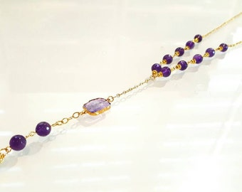 Amethyst  and Amethyst gold  vermeil  necklace, 14k gold  necklace, elegant  necklace,gold tassel necklace