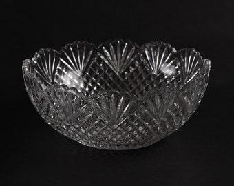 Vintage Scalloped Pressed Glass Bowl