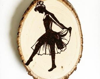 Ballerina Wood burned wall Decor, wood burned dancer wood wall hanging