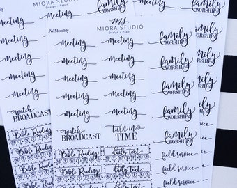 Monthyly Theocratic Stickers~ Meeting, Ministry, Field Service, Family Worship, Daily Text And Bible Reading Tracker Boxes