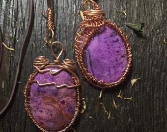Beautiful jasper wire wrap necklace | leather necklace | wire wrapped jasper