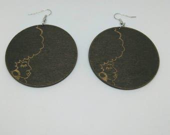 Brown Afro lady earrings