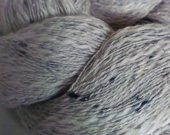 Cream and Grey with Black Fleck Rustic Roving Lace/Light Fingering Weight Yarn Skein (300meters) Mixed Fibre Content
