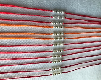 """Handmade """"Rakhi"""" """"Wristband"""" Indian Festival Red Beaded Pearl 3 Rakhis"""