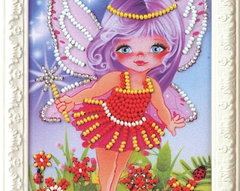 "Beaded Embroidery Kit DIY Little Fairy 4""x6"" - Color Canvas Bead Set Needle Guide Beginners"