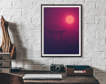 Torii Gate Japan Sun Moon Mt Fuji Minimal Poster Art Print