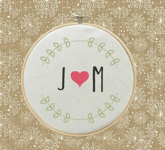 Custom Name Initials Monogram Love Boyfriend Girlfriend Machine Embroidery Designs Wall Art Original Digital File Instant Download 4x4