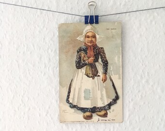 Antique Dutch girl Christmas postcard card - winter, snow, doll, traditional winter holidays, blue, white, shabby chic, vintage, Holland