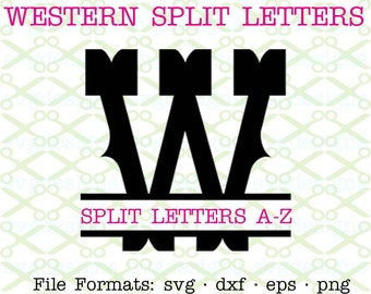 Western Split Letter Monogram SVG, Dxf, Eps, Png; Split Monogram Svg, Western Split Monogram for Cricut & Silhouette, Digital Cut Files Svg